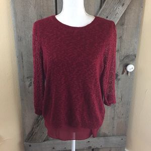 Lucky Brand Cinema Maroon Lace  Layer Sweater Med